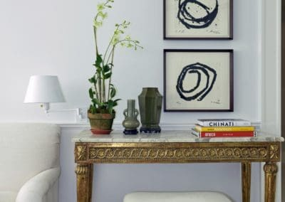 Gilded Table with Artwork