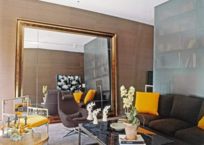 Living Room with Large Mirror